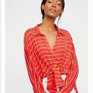 Free people can't fool me oversized striped top